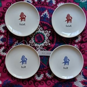 RAE DUNN◆Rest//Relax Appetizer Plates Set of 4